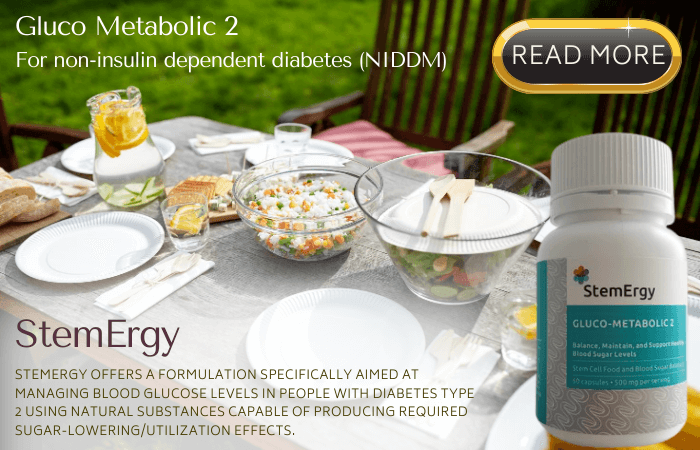 In non-insulin dependent diabetes (NIDDM), StemErgy Gluco Metabolic 2 has been designed to improve glucose sensitivity and related lipogenic metabolics precluding a progression to insulin and possibly reconstituting beta cell activity and return to normalcy.